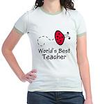 Ladybug Teacher Jr. Ringer T-Shirt