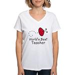 Ladybug Teacher Women's V-Neck T-Shirt