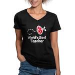 Ladybug Teacher Women's V-Neck Dark T-Shirt