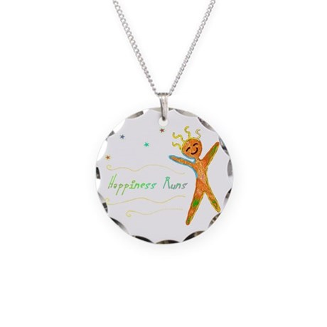 Happiness Runs Necklace Circle Charm