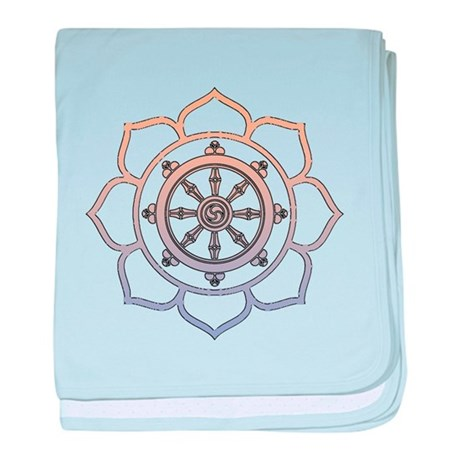 Dharma Wheel with Lotus Flowe baby blanket