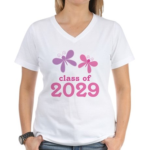 2029 Girls Graduation Women's V-Neck T-Shirt