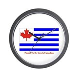 Proud to be Greek Canadian Wall Clock