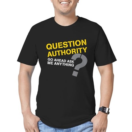 Question Authority Men's Fitted T-Shirt (dark)