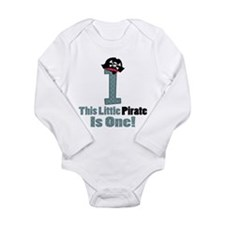 Pirate 1st Birthday One Yr Long Sleeve Infant Body