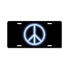 Blue Peace Symbol Aluminum License Plate