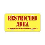 Restricted Area Aluminum License Plate
