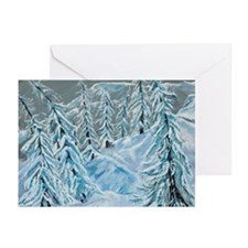 Skiing Through The Trees Greeting Cards (Package o