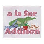 A is for Addison Throw Blanket