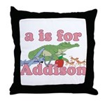 A is for Addison Throw Pillow