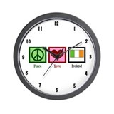 Peace Love Ireland Wall Clock