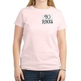 40th birthday saying, 40 rocks! Women Pink T-Shirt