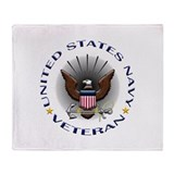 US Navy Veteran Eagle Throw Blanket