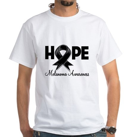 Hope Ribbon Melanoma White T-Shirt