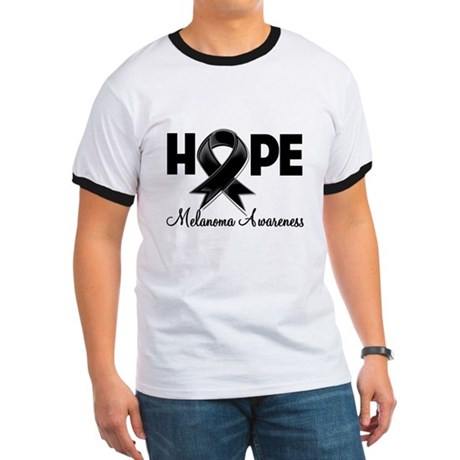 Hope Ribbon Melanoma Ringer T