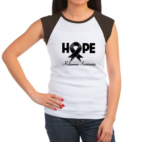 Hope Ribbon Melanoma Women's Cap Sleeve T-Shirt