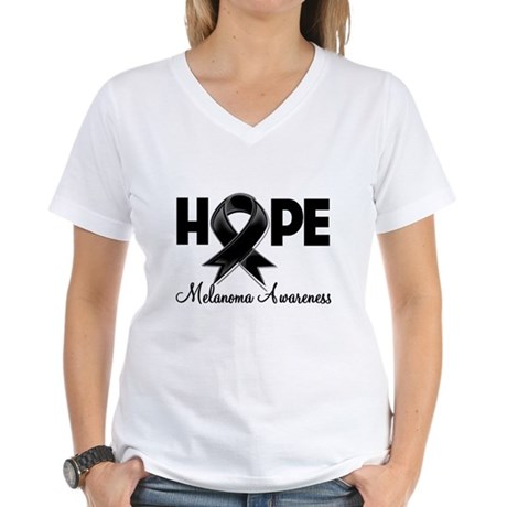 Hope Ribbon Melanoma Women's V-Neck T-Shirt