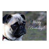 Happy Birthday Pug Postcards (Package of 8)