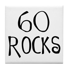 60th birthday saying, 60 rocks! Tile Coaster