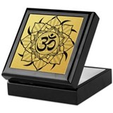 Gold Lotus Aum Mandala Keepsake Box