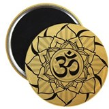 Gold Lotus Aum Mandala 2.25&amp;quot; Magnet