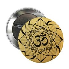 "Gold Lotus Aum Mandala 2.25"" Button"