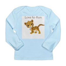Love to Run Cheetah Long Sleeve Infant T-Shirt