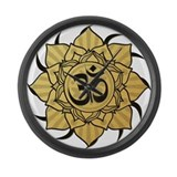 Golden Lotus Aum Large Wall Clock