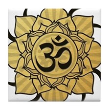 Golden Lotus Aum Tile Coaster