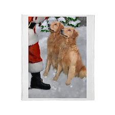 Golden Retriever Christmas Throw Blanket