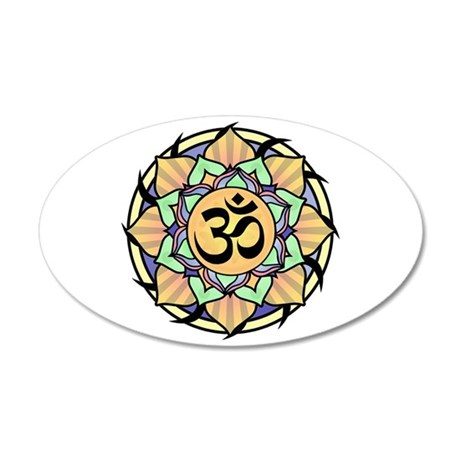Rainbow Lotus Aum 22x14 Oval Wall Peel