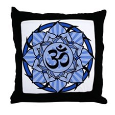 Aum Lotus Mandala (Blue) Throw Pillow
