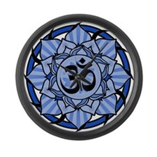 Aum Lotus Mandala (Blue) Large Wall Clock