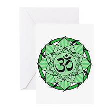 Aum Lotus Mandala (Green) Greeting Cards (Pk of 20