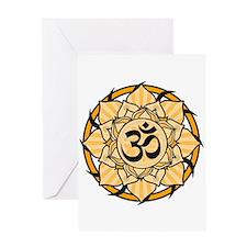 Aum Lotus Mandala (Orange) Greeting Card