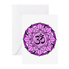 Aum Lotus Mandala (Purple) Greeting Cards (Pk of 2