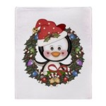 Christmas Penguin Holiday Wreath Throw Blanket