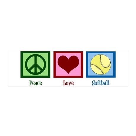 Peace Love Softball 20x6 Wall Decal