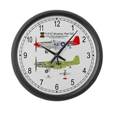 P-51 Mustang Tuskegee Airman Large Wall Clock