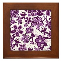 Purple Ninja Flowers! Framed Tile