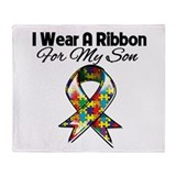 Autism Ribbon For My Son Throw Blanket