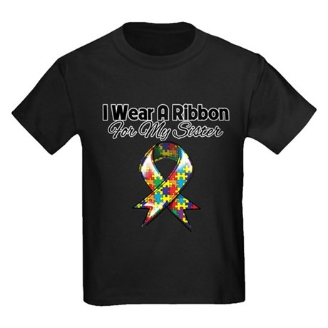 Autism Ribbon For My Sister Kids Dark T-Shirt