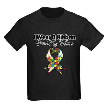 Autism Ribbon For My Hero Kids Dark T-Shirt
