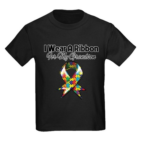 Autism Ribbon For My Grandson Kids Dark T-Shirt
