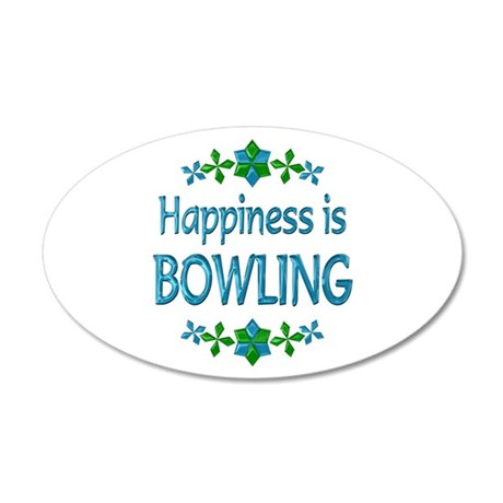 Happiness Bowling 22x14 Oval Wall Peel