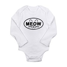 Meow Oval Long Sleeve Infant Bodysuit