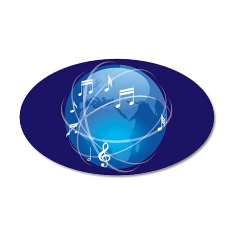 Mixed Musical Notes (world) 38.5 x 24.5 Oval Wall