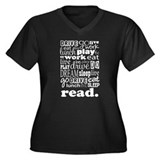 Read Life Quote Book Women's Plus Size V-Neck Dark