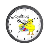 Quilting Chick Text Wall Clock