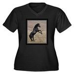 Desert Stallion Women's Plus Size V-Neck Dark T-Sh